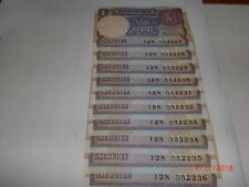 INDIA PAPER MONEY- 10 X RS 1/- OLD  NOTES -MONTEK SINGH AHLUWALIA - A-57 # AA15