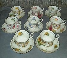 "Golden Crown E&R Bone China Tea cup & Saucer sets ""Bouquet of the Month Series"""