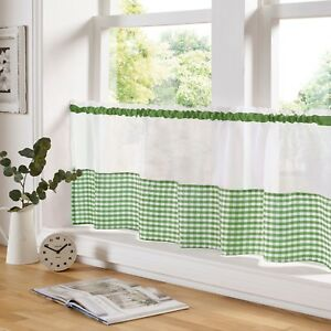Gingham Check Green & White Cafe Voile Curtain Panel✔ Fast Despatch✔ UK Seller✔