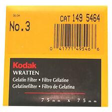 Kodak Wratten Gelatin Filter. 75 x 75 mm. No.3 cat 149 5464
