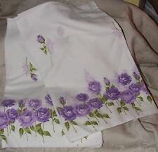 Mid 1950s Pair Home Made Purple Roses Pillowcases