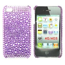 CASE FOR APPLE IPHONE 4 IPHONE 4S RHINESTONE DIAMANTE PURPLE GEM HARD BACK COVER