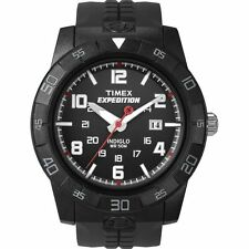 "Timex T49831, Men's ""Expedition"" Black Resin Watch, Indiglo, Date, 50 Meter WR"