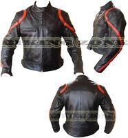 RED MARGIN MENS ARMOURS MOTORBIKE / MOTORCYCLE & FASHION BLACK LEATHER JACKET