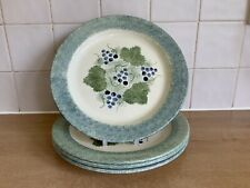 Poole Handpainted Pottery Vineyard Grapes - 4 x 26 cm Dinner Plates
