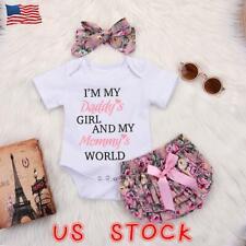 3PC Newborn Kids Baby Girl Outfits Clothes Romper Bodysuit+Tutu Pants Dress Set
