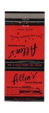 Vintage ALLEN'S DRIVE-IN RESTAURANT Alice TX Unused Front Strike Matchbook Cover