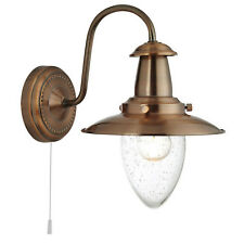 Fisherman Copper Wall Light Home Interior Fitting Lights With Seeded Glass Shade