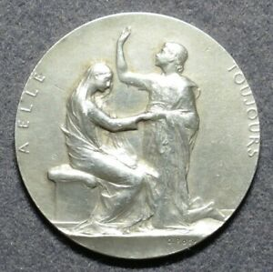 French Art Nouveau silver medal 'A elle toujours' by Roty (1916)