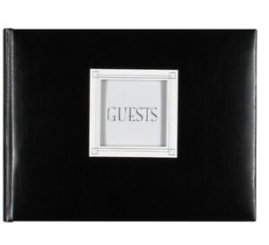 CR Gibson Guest Book Customizable, Black Leather, Wedding,5th-50th Anniversary