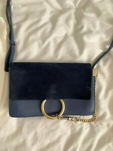 Chloe Mini Faye Suede & Leather Wallet on a Chain Blue Crossbody Bag