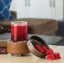 Candle Warmer 2-in-1 Fragrance Warmer Pewter & Walnut - NIB