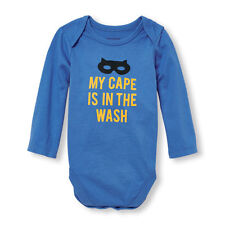"Baby Boys Long Sleeve ""My Cape Is In The Wash"" Bodysuit Size 0-3 Months Blue"