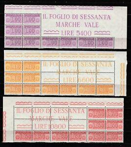 s37663 ITALIA MNH** 1958/66 BLOCCO ANGOLARE Trasp. Concessione L.90+110+180