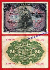 ESPAÑA SPAIN 50 Pesetas 1906 SIN SERIE  Pick 58a BC+ /  F