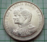 PORTUGAL CARLOS I 1898 1000 REIS, 400th Anniversary - Discovery of India, SILVER
