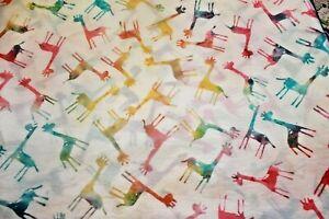 Batik Giraffes on White 44 x 44 Inches Cotton Quilt Fabric