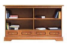 Bibliothèque basse double avec tiroirs - Meuble bas de rangement - Made in Italy