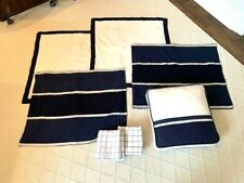 Navy/Cream Pillow Sham Bundle: 2 Euro Covers, 2 Standard Covers, 2 Pillow cases