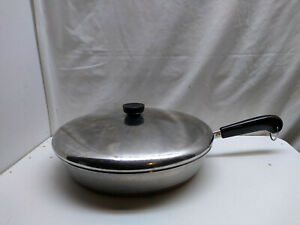 """Revere Ware Stainless Copper Clad 12"""" Skillet Saute Fry Pot  French Chef Pan Lid"""