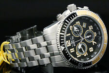 Invicta Men 50mm Pro Diver RONDA Movement Chrono Black Dial S.S Bracelet Watch