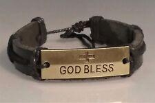 "Christian Bracelet ANTIQUE GOLD ""GOD BLESS"" Facing BLACK LEATHER CUFF Cross"