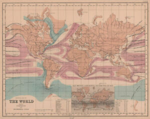 Physical Map of the World. Ocean currents & isothermal Lines. HUGHES 1876