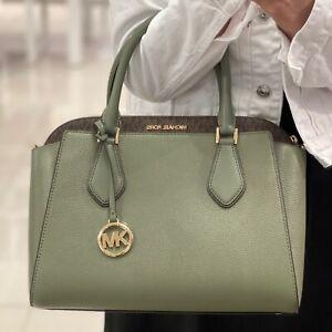 Michael Kors Daria Large Satchel Leather Bag Army Green