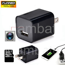 32GB 1080P USB Spy Camera AC Adapter USB Wall Charger Camcorder DV Surveillance
