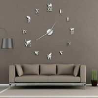 Wall Clock Home Decoration 3D DIY Mirror Modern Frameless Cat Designed Watch New