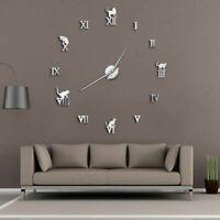 Wall Clock Home Decoration 3D DIY Mirror Modern Frameless Cat Designed Watch New