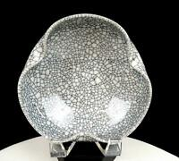 "STUDIO ART POTTERY RAKU CRACKLE GLAZE PINCHED RIM 6 5/8"" BOWL"