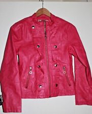 NWOT Dollhouse Hot Pink Faux Leather Ruffle Front Jacket Size 16