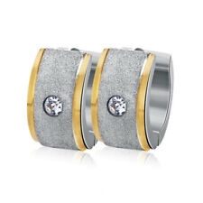 Stainless Steel Womens Mens CZ Hoop Huggie Stud Earrings Silver Gold Plated Punk