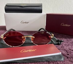 Cartier Rimless Frame Genuine Buffalo Horn Glasses 100% Authentic Gold Finish