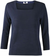 New Ladies ex Country Casuals Smart Navy Blue Ribbed Square Neck Top L RRP £32
