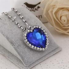 Large Blue Crystal White Gold Plated Heart of the OCEAN Titanic Necklace