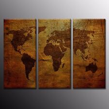 FRAMED HD Wall Art Decor Antique World Map Oil Painting Canvas Print Poster-3pcs