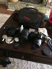 Lot Of 2 Canon Cameras & Accessories EOS Rebel XS, Sure Shot Tele, Quantaray Len