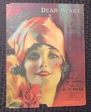 1919 Vintage Sheet Music DEAR HEART 4pgs VG- Rolf Armstrong Beautiful Girl