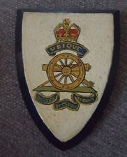 Vintage SMALL Early 1900s  ROYAL ARTILLERY PLAQUE SHIELD Hand Painted