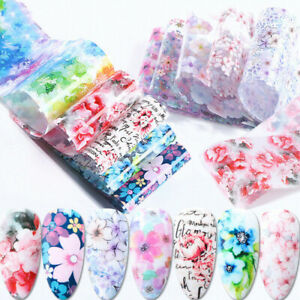 10 pcs Flower Nail Art Foil Sticker Transfer Decals Mixed Manicure Home DIY