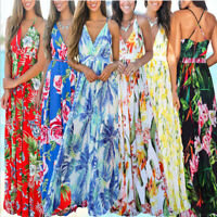 Summer Women Floral Print Sexy V-Neck Sleeveless Beach Evening Maxi Long Dress
