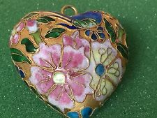 Gold Gilded Enamel Cloisonne Chinese Large Puffy Heart Flower Design Vintage