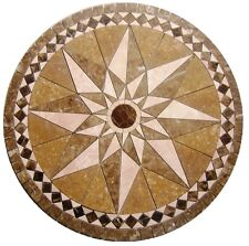 Floor Marble Medallion Star Noce Tile Mosaic 32 inch Compass Rose Medallion US