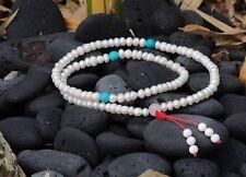 108 Bead Tibetan Pearl Mala with Turquoise Spacers