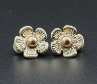 Vintage FLOWER Clip On EARRINGS Sterling Silver and 14k Gold