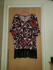 Ladies Yours Clothing Tassel Festival Tshirt top Size 14