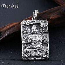 MENDEL Stainless Steel Mens Thai Tibetan Large Amulet Buddha Pendant Necklace