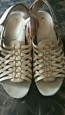 Earthies size 12 Petra biscuit women's wedge woven leather  sandals